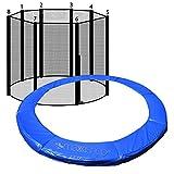 awm® Trampolin Randabdeckung Federabdeckung + Sicherheitsnetz Fangnetz (Blau, 305cm / 8 Stangen System)