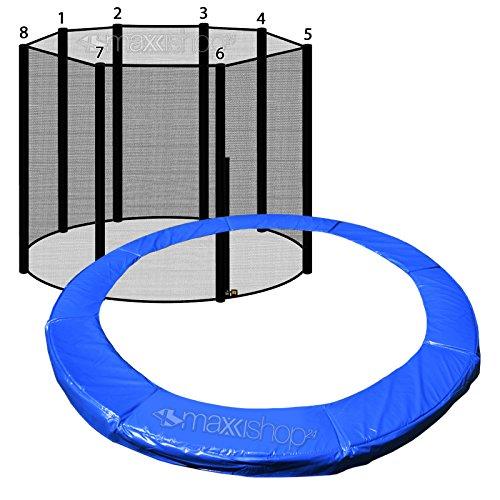 AWM Trampolin Randabdeckung Federabdeckung + Sicherheitsnetz Fangnetz (Blau, 366cm / 8 Stangen System)