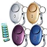 Tian 4 Packs Persönlicher Alarm 130DB Sehr Laut Notfall Taschenalarm mit 12 Extra LR44 Knopf Batterie - Notwehr Schlüsselanhänger Alarm Schlüsselalarm Panikalarm Mini mit LED Lampe für Frauen, Kinder, ältere Menschen