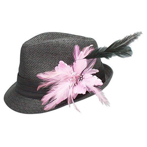 Alpenflüstern Damen Strohhut Trachtenhut schwarz mit Feder-Clip ADV03000029 rosé