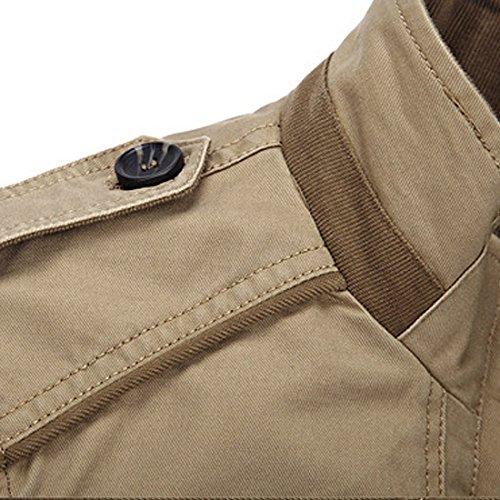 Herbst Winter Herren Freizeit Jacke Kapuze Mantel Slim Fit Langarm Baumwolle Casual Reißverschluss Jacke Parka Oberbekleidung mit Multi-Taschen Vergrößern Größe Grün