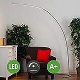 LED Stehlampe (Bogenleuchte) Danua dimmbar (Modern) in Alu aus Metall u.a. für Wohnzimmer & Esszimmer (1 flammig, A+, inkl. Leuchtmittel) von Lampenwelt | LED-Stehleuchte, Wohnzimmerlampe