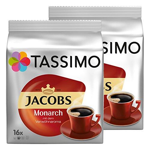 Tassimo Monarch, Verwöhnaroma, Kaffee, Kaffeekapsel, gemahlener Röstkaffee, 32 T-Discs / Portionen