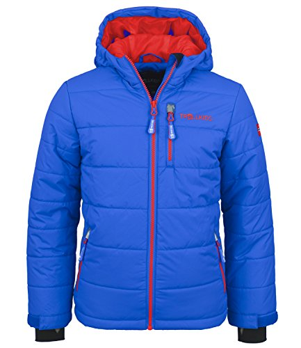 Trollkids Kinder Skijacke / Winterjacke Hemsedal, Mittelblau / Rot, Größe 152