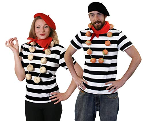 FRENCH COUPLES FANCY DRESS COSTUME BLACK & WHITE STRIPED TOP + BERET + TASH + ONION/GARLIC GARLAND FRENCHMAN OUTFIT SET (MEDIUM & LARGE)