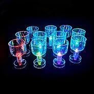 Kapmore 12PCS Led Light Up Flashing Wine Goblet Wine Glasses Mini Cup for Club Party