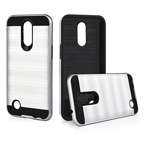 EGO® Hard Case Schutz Hülle für LG K10 2017 Grau Metallic Effect Brushed Handy Cover Schale Bumper Etui Top-Qualität Silber