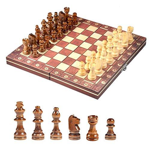 Dilwe Magnetisches Schachspiel, Holzklappschach und Dame Brettspiel Lernspielzeug für Kinder und Erwachsene