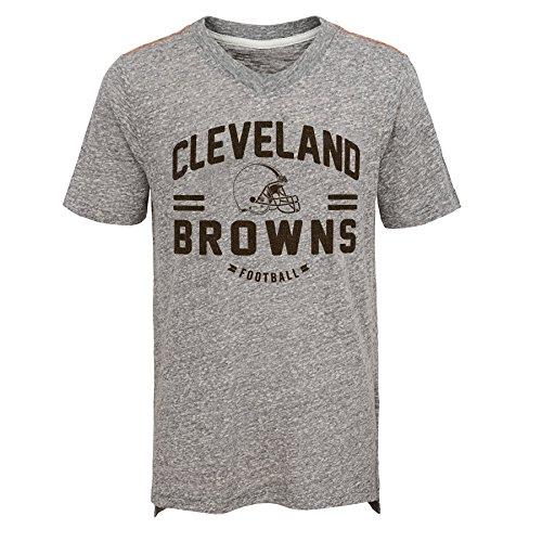 Outerstuff NFL Cleveland Browns Jungen Youth Heritage Short Sleeve Tri Blend Tee, Jungen, 9K1B7FA5EF10 BRW HGY-BXL20, grau meliert, XL