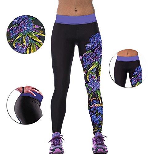 iBaste Leggings de Sport Femme imprimé Jogging Yoga Pantalons Collant Style 5