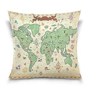 ALAZA manta funda de almohada Funda de cojín (cuadrado funda de almohada, viejo mapa del mundo sofá cama funda de almohada, doble lados