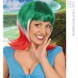 Green White Red Supporter Woman Wig for Football Sport Events Fan Supporters Fancy Dress Accessory