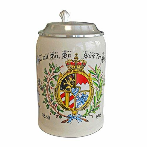 Geschenkbox Steinkrug Bierkrug Land der Bayern, Steingut, mit Zinndeckel, bunt, 0,5l Füllmenge (Krug Land)