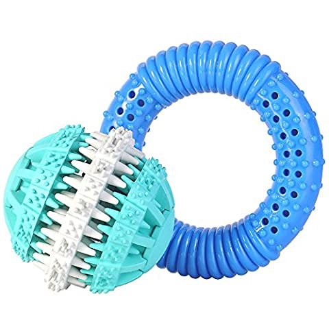 SlowTon Dog Chew Toy , Rubber Teeth Cleaning Treat Kibble Tooth Gums Massage Brush Ball and Freezable Donut Absorb Water Play Training Healthy Toy with Flavor for Puppy Dog Medium Chewers