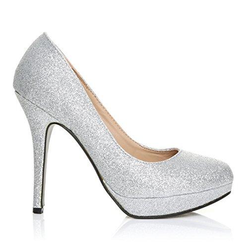 Eve - High Heels Stöckelschuhe silber Glitter Glitzer Stilettos Plateau Pumps - Silber Glitzer, Synthetik, 5 UK / 38 EU