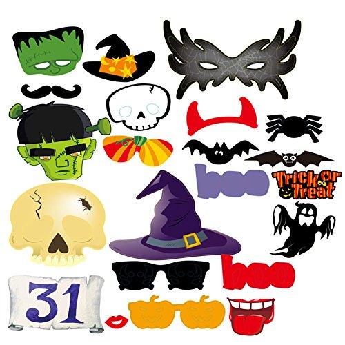 Zantec 22 Stück Foto Booth Props Lustige Schnurrbart Gläser Masken Party Favor für (2017 Requisiten Halloween)