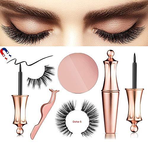 Magnetic eyeliner wimpern,Neue Magnetic Eyeliner Magnetic Eyelashes Kit Wasserdichter,Langlebiger Eyeliner mit 5-Magneten Magnetische Falschen Wimpern Wiederverwendbare Natürlicher Look (Doha) -
