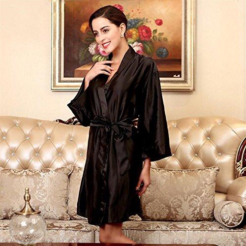 Andensoner Frauen langärmlige Morgenmäntel Nachthemd Pyjama Cardigan Bademantel