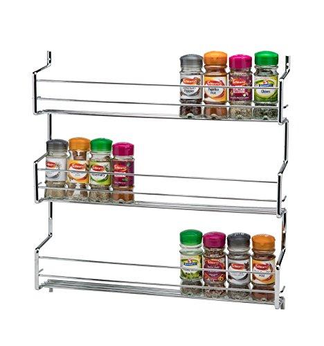 Ckb ltd®, portaspezie in metallo da parete, mensola cromata, mensola da parete, supporto per cucina, organizer universale, 3 tier - holds 30 jars