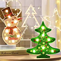 y2y3zfal Decorative Painting 5D Christmas Tree DIY Snowman Multi-shape Diamond-shaped Painting With Night Light 1#