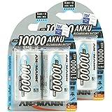 ANSMANN Piles Réchargeables D Mono (LR20/HR20) NiMH Professional Type 10000 (min. 9300mAh) Power Accu - Pack de 4
