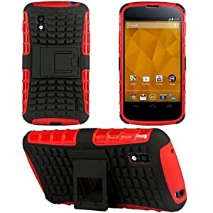 Heartly Flip Kick Stand Hard Dual Armor Hybrid Bumper Back Case Cover For LG Google Nexus 4 E960 - Red