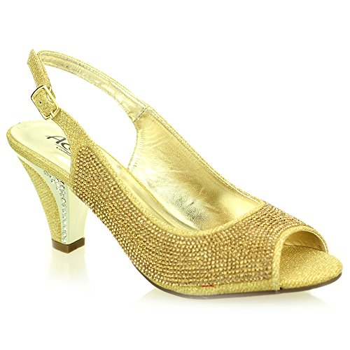 Frau damen abend kitten-heel peep toe diamant hochzeit party sandale schuhe größe (Gold, Silber, Schwarz) Gold