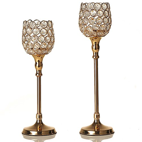VINCIGANT Kristall Kerzenhalter Kerzenständer Dekoration Kerzenhalter Sets Silber (Kristall-glas-top-esstisch)