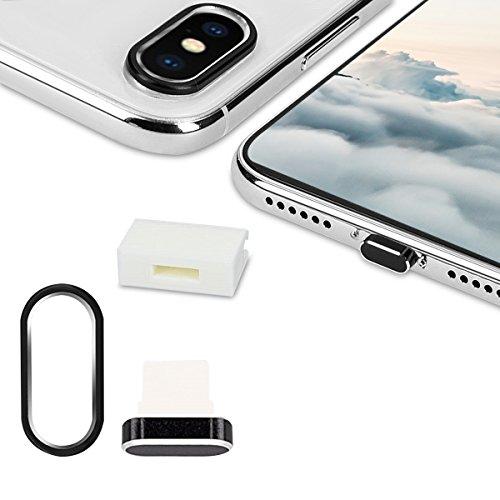 kwmobile 3en1: Proteccion para camara de Smartphone y Set Antipolvo - Tapones Protectores para Apple iPhone X - en Negro