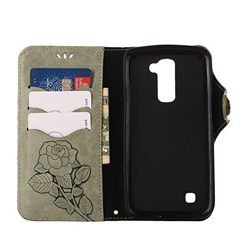YHUISEN LG K10 case, Luxus Retro Rose Premium PU Leder Magnetverschluss Flip Wallet Schutzhülle mit Lanyard für LG K10 / LG Premier LTE ( Color : Pink ) Light Green