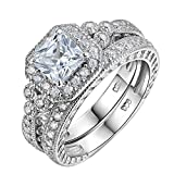 Newshe Vintage Bridal Set Princess White Cz 925 Sterling Silver Wedding Engagement Ring Set Size J to T
