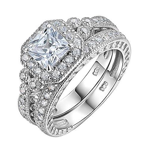 Newshe Vintage Bridal Set Princess White Cz 925 Sterling Silver Wedding Engagement Ring Set Size Q