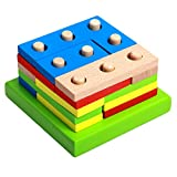 D DOLITY Holz Spielzeug Steckpuzzle