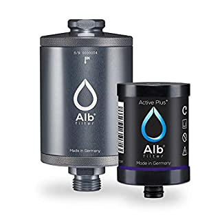 Alb Filter Active Plus+ Trinwasser-Filter reduziert Bakterien, Keime, Schadstoffe, Schwermetalle, Mikro-Plastik. Made in Germany. Titan