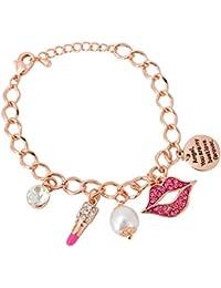 Aaishwarya Funky Lip,Pearl Charms Angel Word Engraved Bracelet For Women/Girls