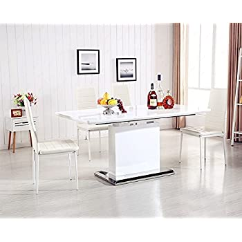 uenjoy dining table white extendable table high gloss kitchen furniture - White Gloss Extending Dining Table