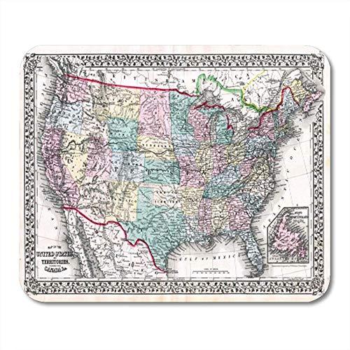 HOTNING Gaming Mauspad Vintage 1870 Antique Map United States Mitchell USA Texas America America USA 11.8