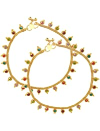 Dzinetrendz Gold Plated Colourful Stone Coin Shape Traditional Ethnic Marriage Bridal Anklet Jewellery For Women