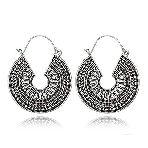 Cyuang Damen Ohrringe Vintage Antik Silber Ohrring Geometrischen Ethnischen Stil Blume Schnitzen Tropfen Ohrring Für Frauen Mädchen Baumeln Ohrring