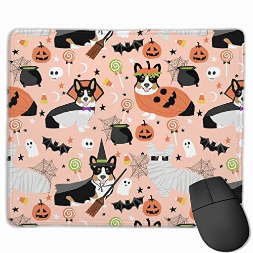 Tri-Colored Corgi Halloween Costumes Mummy Vampire Ghost Just Dog Peach Mousepad 18x22 cm (Halloween Dog Meme)