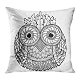 Cupsbags Throw Pillow Cover Animal Birds Owl Black and White Mandala with Abstract Ethnic Aztec Tattoo Page for Coloring Book Doodle Decorative Pillow Case Home Decor Square 18x18 Inches Pillowcase