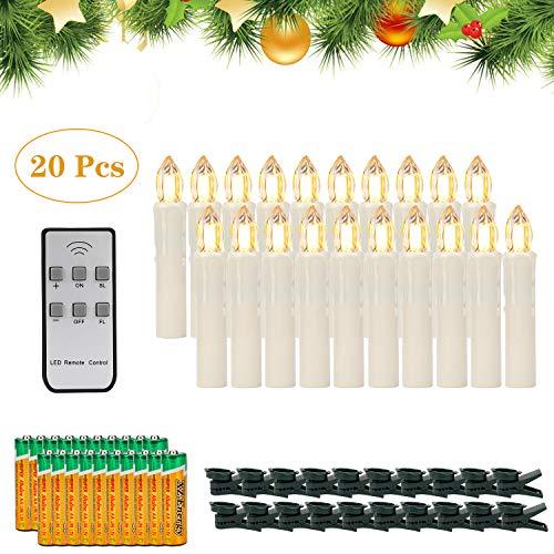 20er LED Kerzen,EXTSUD LED Weihnachtskerzen mit Batterien&Fernbedienung, IP64 Dimmbar Kerzenlichter Warmweiß Flammenlose Kerzen für Weihnachtsbaum,Weihnachtsdeko,Hochzeitsdeko,Geburtstags,Party
