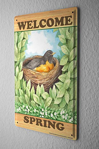 Leaf Wall Plate (Rebecca Simpson 8x12 Tin Sign Seasons Welcome Spring Bird's Nest Leaves Wall Poster Metal Plate)