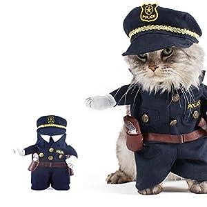 UEETEK Funny Dog Cat Jeans uniformes vêtements pour animaux de compagnie Costume Robe Cosplay pour fête carnaval, taille S