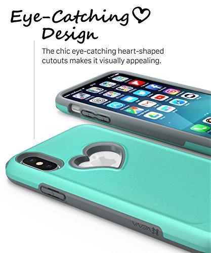 iPhone X Hülle, Vena Schutzhülle [vLove] [Herz-Gestalten | Dual Layer Schutz] Hybrid Stoßfänger Abdeckung Case für Apple iPhone X - Aquamarin / Grau Aquamarin / Grau