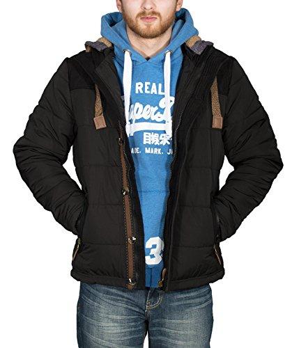 Better Sleep tylz greybullbz giacca invernale da uomo uomini piumino look cappuccio rimovibile Vegan (S-XL) Schwarz/BML/Nco L