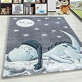 HomebyHome - Tappeto per cameretta Bambini, Motivo: Dino Wolke a Forma di Stella, Colore: Grigio/Blu, 100% Polipropilene, Blu, 80 x 150 cm