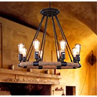 PC in stile loft corda di ferro lampada industriale Edison pendente Vintage punti luce per la sala da pranzo appeso Droplight illuminazione per interni,8