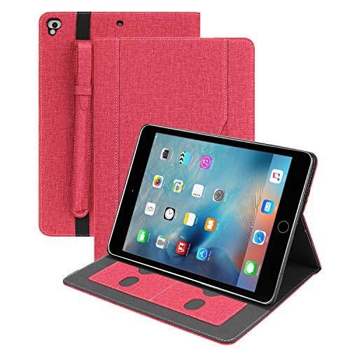 Denim Folio Schutzhülle für iPad Pro 9.7 2018 2017 Smart Case Vollständiger Schutz mit Stifthalter, Kartenschlitzen, Vordertaschen, Auto Wake/Sleep kompatibel Apple iPad Air 2 1 6. 5. Generation, rot (Case Rot Ipad Smart Apple 2)