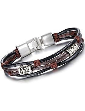 Oidea Herren Damen Armband, Tribal Wickel Geflochten Armreif, Leder Legierung, Braun Schwarz Silber